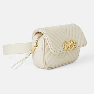 Zara crossbody lion-head off white belt bag NEW